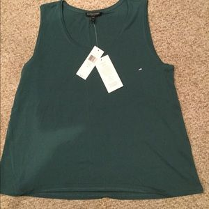 Eileen Fisher teal, silk tank top. Size S